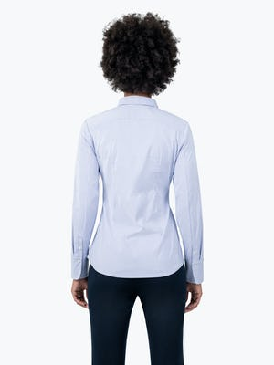 Women's Blue Stripe Aero Dress Shirt on Model Facing Backwards