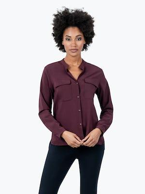Women's Burgundy Patch Pocket Blouse on Model Facing Forward