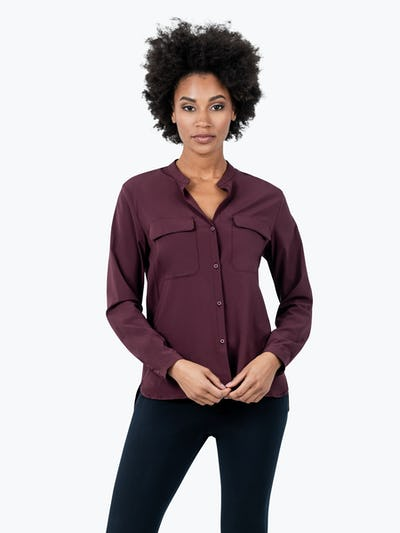 Women's Burgundy Patch Pocket Blouse on Model Facing Forward