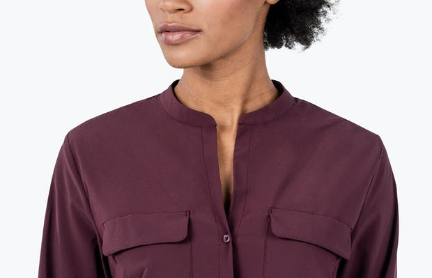 Women's Burgundy Patch Pocket Blouse on Model in Close-up of her Shirt Collar