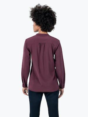 Women's Burgundy Patch Pocket Blouse on Model Facing Backward
