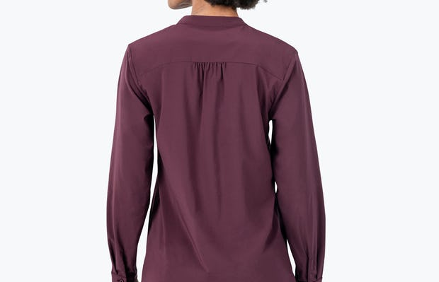 Women's Burgundy Patch Pocket Blouse on Model Facing Backward