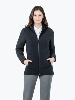 Women's Black Mercury Intelligent Heated Jacket on Model Facing Forward