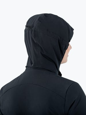 Women's Black Mercury Intelligent Heated Jacket on Model in Close-up of the Back of the Hood