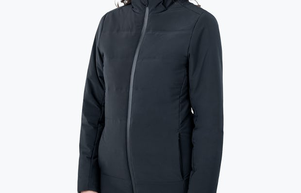 Women's Black Mercury Intelligent Heated Jacket on Model with Hands by Her Side