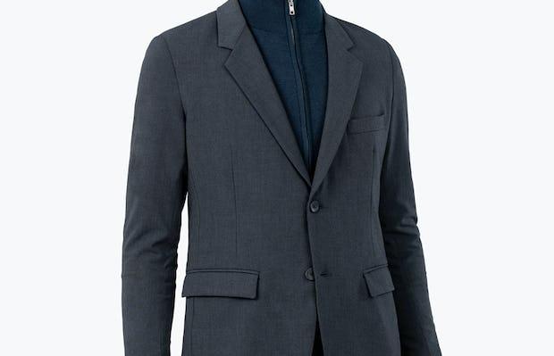 Men's Dark Charcoal Velocity Suit Jacket on Model over Atlas Full Zip Sweater