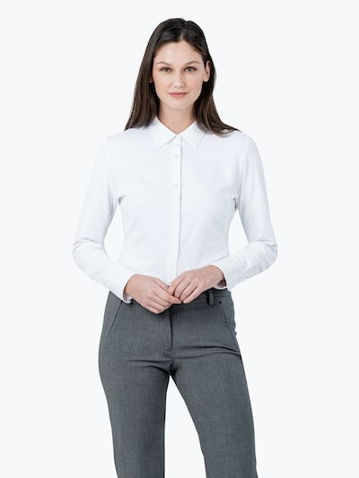 Women's White Aero Zero Dress Shirt on Model Facing Forward