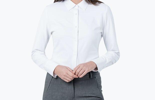 Women's White Aero Zero Dress Shirt on Model Facing Forward