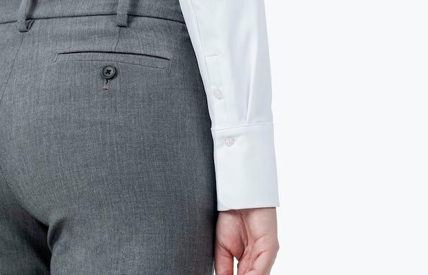 Women's White Aero Zero Dress Shirt on Model in Close Up of Her Shirt Cuff