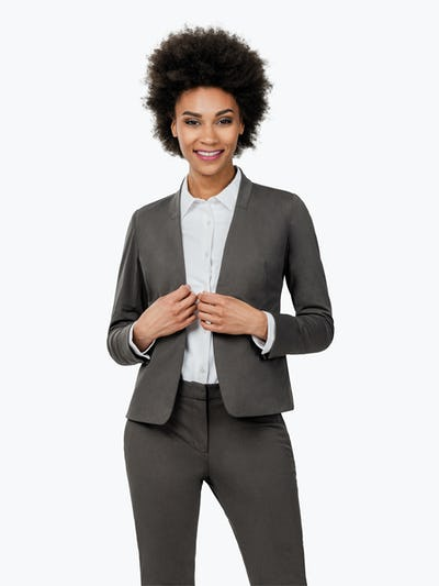 Women's Charcoal Heather Kinetic Blazer on Model Facing Forward