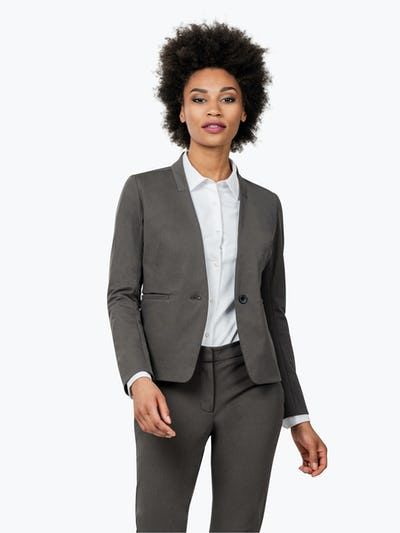 Women's Charcoal Heather Kinetic Blazer on Model Walking Forward