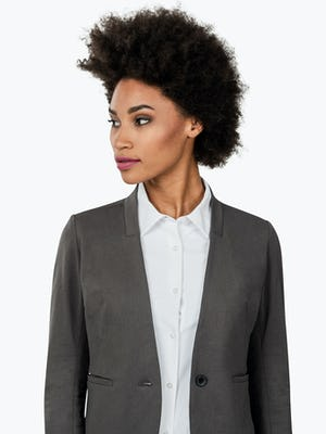 Women's Charcoal Heather Kinetic Blazer on Model in Close-up of Blazer Lapels
