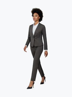 Women's Charcoal Heather Kinetic Blazer on Model Walking to the Left