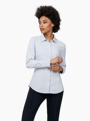 Women's Blue Stripe Aero Zero Dress Shirt on Model Looking to Her Right