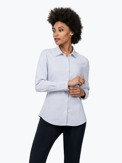 Women's Blue Stripe Aero Zero Dress Shirt on Model Looking to Her Right