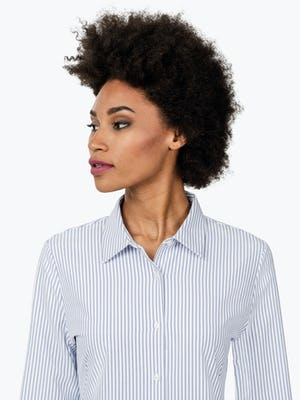 Women's Blue Stripe Aero Zero Dress Shirt on Model in Close Up of Her Looking Right