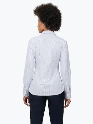 Women's Blue Stripe Aero Zero Dress Shirt on Model Facing Back