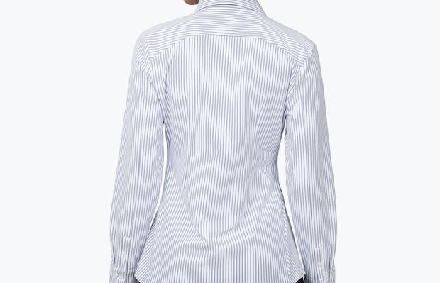 Women's Blue Stripe Aero Zero Dress Shirt on Model Facing Back