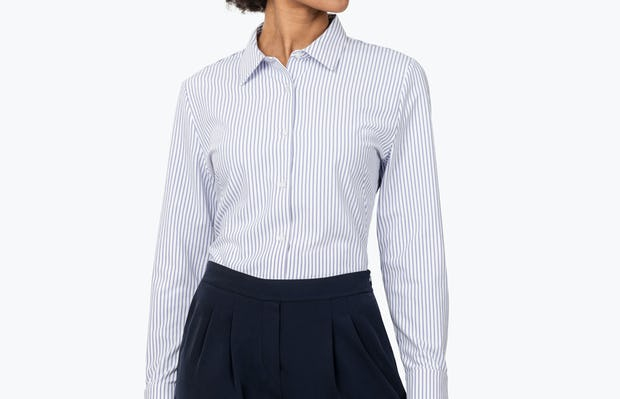 Women's Blue Stripe Aero Zero Dress Shirt on Model Looking to Her Left