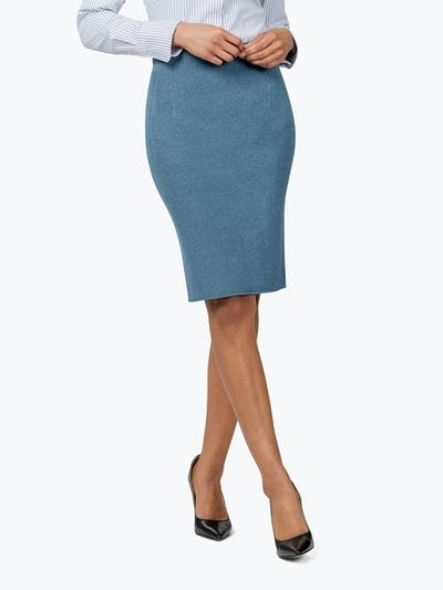 Women's Cerulean 3D Print-Knit Skirt on Model Walking to Her Left