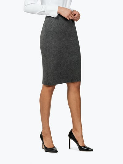 Women's Dark Grey 3D Print-Knit Skirt on Model Facing to Her Left