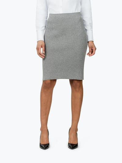 Women's Light Grey 3D Print-Knit Skirt on Model Facing Forward