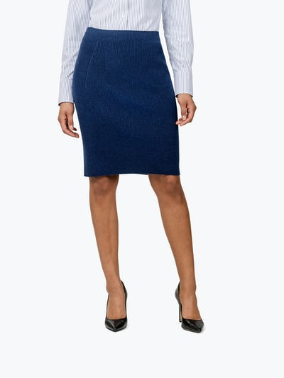 Women's Navy 3D Print-Knit Skirt on Model Facing Forward