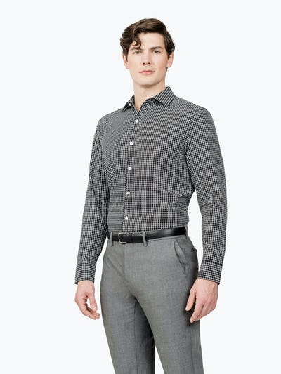 Men's Black Grid Aero Zero Dress shirt model facing forward and to the right