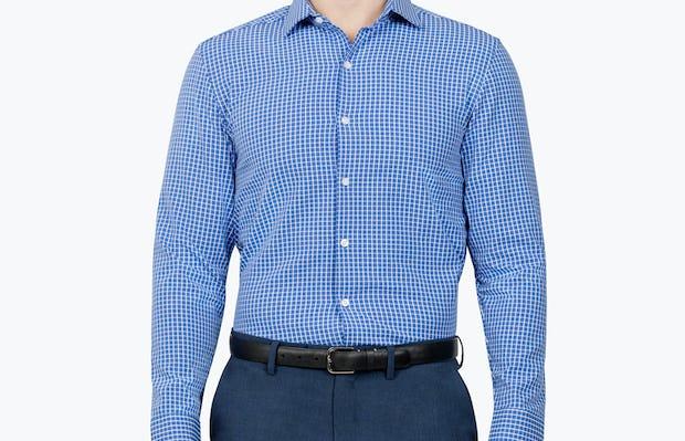 Men's Blue Grid Aero Zero Dress shirt model facing forward