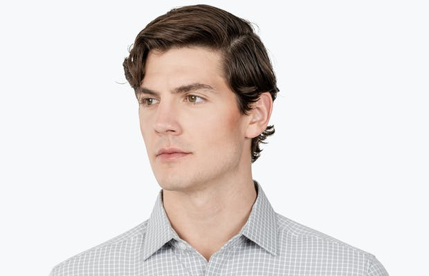 Men's Grey Grid Aero Zero Dress shirt headshot of model looking to the right