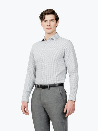 Men's Grey Grid Aero Zero Dress shirt model facing forward and to the right