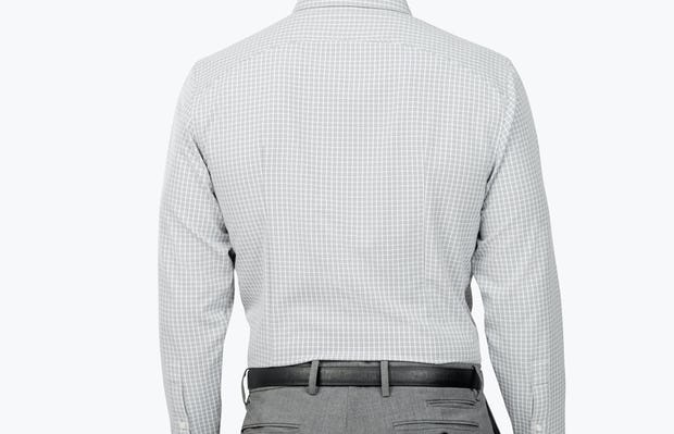 Men's Grey Grid Aero Zero Dress shirt model facing backward