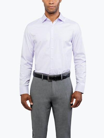 Men's Lavender Grid Aero Dress Shirt on Model Facing Forward
