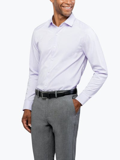 Men's Lavender Grid Aero Dress Shirt on Model Facing Forward with Hand in Pocket