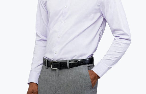 Men's Lavender Grid Aero Dress Shirt on Model Facing Forward with Hand in Pocket