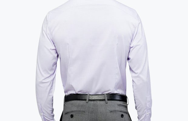 Men's Lavender Grid Aero Dress Shirt on Model Facing Backward