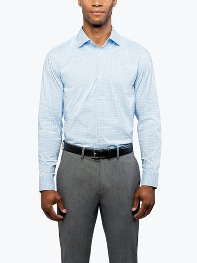 Men's Blue Plaid Aero Dress Shirt on Model Facing Forward