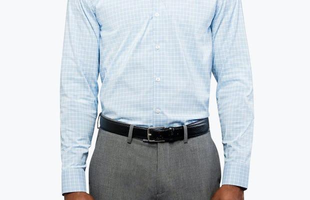 Men's Blue Plaid Aero Dress Shirt on Model
