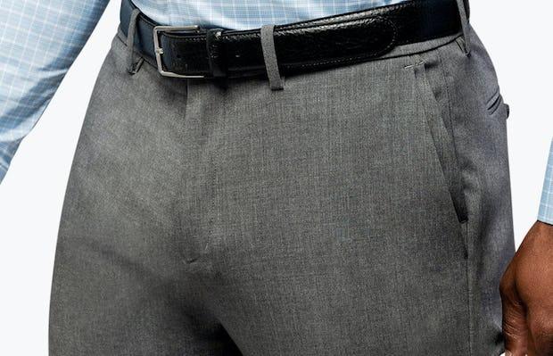 Men's Blue Plaid Aero Dress Shirt on Model Facing Forward With Shirt Tucked In