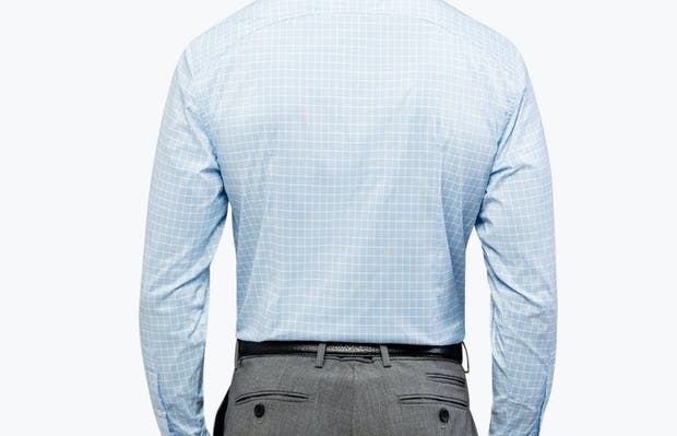 Men's Blue Plaid Aero Dress Shirt on Model Facing Backward