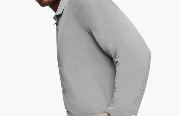 Men's Medium Grey Future Forward Dress Shirt on Model Facing Right