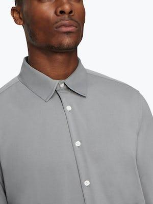 Men's Medium Grey Future Forward Dress Shirt on Model in Close-Up of Buttoned Collar
