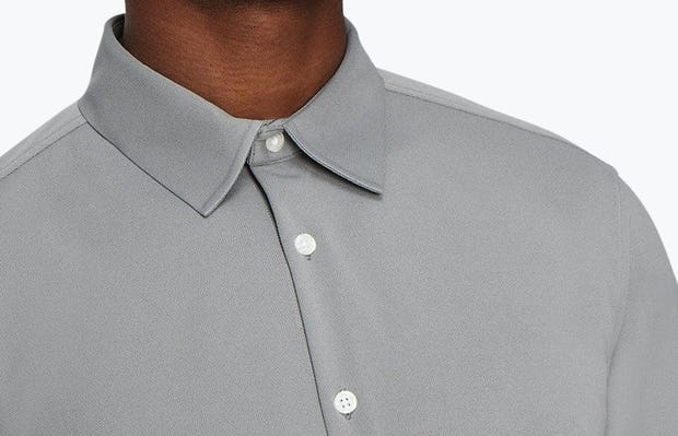 Men's Medium Grey Future Forward Dress Shirt on Model in Close-Up of Buttoned Collar