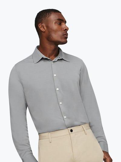 Men's Medium Grey Future Forward Dress Shirt on Model Facing Forward