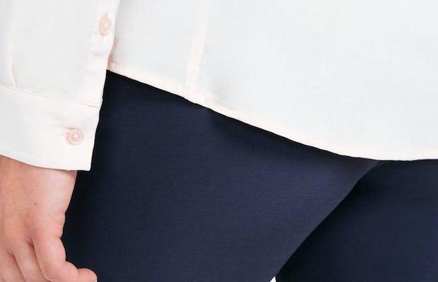 Women's Blush Easier than Silk Shirt on Model Facing Backward in Close-Up of Bottom Hem Line