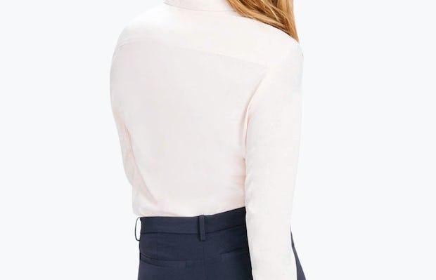 Women's Blush Easier than Silk Shirt on Model Walking Backward