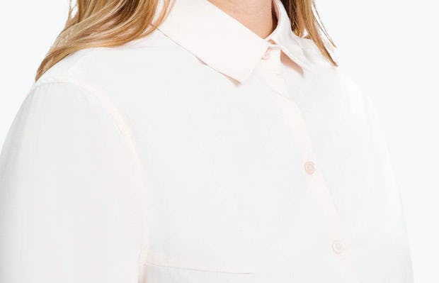 Women's Blush Easier than Silk Shirt on Model in Close-Up of Collar Buttoned