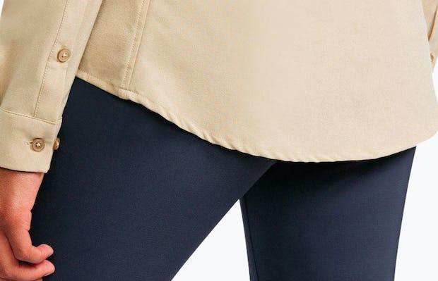 Women's Camel Easier than Silk Shirt on Model Facing Backward in Close-Up of Bottom Hem Line