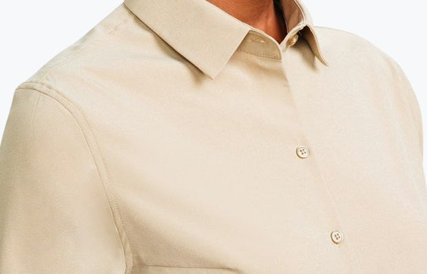 Women's Camel Easier than Silk Shirt on Model Facing Left in Close-Up of Collar Unbuttoned
