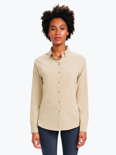 Women's Camel Easier than Silk Shirt on Model Facing Forward